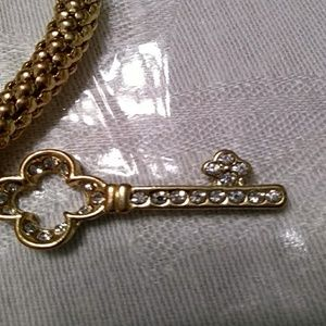 Jewelry - Gold Stretch Bracelet With Rhinestone Skeleton Key